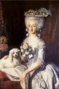 french lady and dog